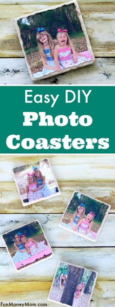 Easy DIY Photo Coasters Whether you need drink coasters, a holiday gift or just . - Easy DIY Photo Coasters Whether you need drink coasters, a holiday gift or just want some pretty ho - Photo Tile Coasters, Picture Coasters, Diy Photo, Photo Craft, Coaster Crafts, Diy Coasters, Diy Gifts For Kids, Craft Gifts, Diy Gifts Using Photos