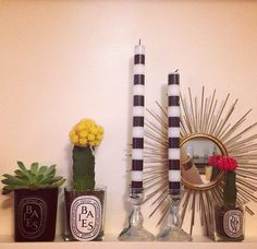 upcycle old Diptyque candles---- dude your momma was throwing out some crystal candelsticks.... if we can find these awesome candles