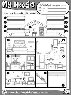 My house - Picture Dictionary (B&W version) English Teaching Resources, English Activities, Language Activities, Vocabulary Worksheets, English Vocabulary, English Grammar, Science Worksheets, English Fun, English Lessons