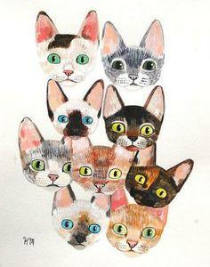 Thrift-store cats: print downloads