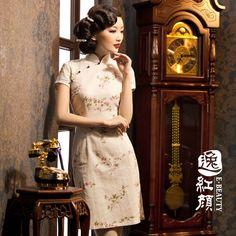 Fluid series lotos short design linen summer fashion vintage cheongsam Cheongsam Modern, Cheongsam Dress, Traditional Dresses, Short, Womens Fashion, Fashion Trends, Vintage Fashion, Chinese, Elegant