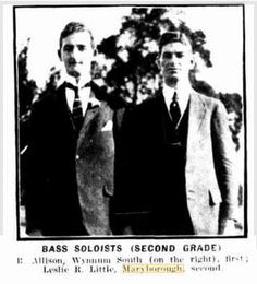 1921 Queensland Eisteddfod at Toowoomba - Bass Soloists (second grade) Leslie R Little (Maryborough) second place pictured at right.