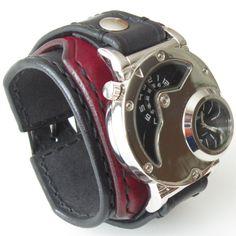 Mens Steampunk Dual Time Watch & Black Watch, Handmade Strap,Steampunk Watch