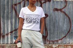 *******NOTICE: This item is being sold as a pre-order. The expected ship  date is Friday, November 20, 2015. In order to be sure you are able to  receive one in your size once they are ready to ship, is by purchasing  during the pre-order!*********  The Classic BOSSMOM is our original and most popular design for our  t-shirts! It's the staple everyday tee! Yeah, you may need to buy more than  one!  Part of our Relaxed Collection, this tee features a v-neck, short sleeves  and a new modern…