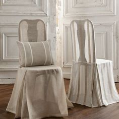 Incorporate sheer fabric in your design scheme in a unique way. We can custom make slipcovers for your chairs! Go soft and romantic or tailored and contemporary! Furniture Slipcovers, Slipcovers For Chairs, Black Dining Room Chairs, Bar Chairs, Dining Chair, Old Sofa, Linen Curtains, Linen Sofa, Chair Fabric