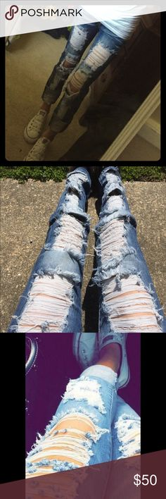 Machine destroyed distressed skinny jeans 25/0 Worn one time they are size 25/0 could fit like a 1/2 possibly 3-4 as well. Long so I rolled them. Destroyed all the way down! Love them but I need a size 23! Little too big! Price firm as to what I paid. Machine Pants Skinny