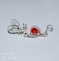 Heart ear cuff no piercing earrings Elf by SilverElfJewelry