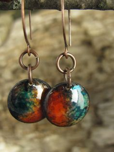 Copper Enamel Little Dome Earrings in Rustic Orange by coppersoul, $18.00