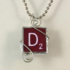 Burgundy Scrabble Letter D Pendant by XOHandworks $20