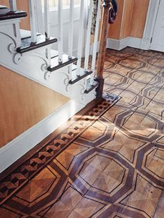 "Stencil - ""When an entrance hall is sparsely furnished, the floor needs to be the focal point. In my home in Connecticut, I used stenciling on the old pine boards to bring a little definition and visual excitement to the space."" —Bunny Williams  Read more: Painted Floor Designs - Painted Floor Ideas - House Beautiful"