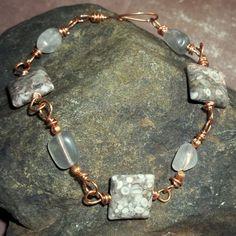 Sea Fossil Bracelet Phantom Quartz Copper Grey Cowrie Wire Wrapped earthegy $23.40
