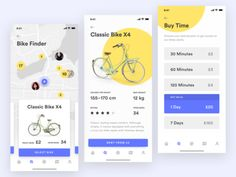 Bike Sharing App – Finding and Renting Your Bike 黄色 自行车 应用 yellow transportation sharing renting iphone x ios data bike bicycle Ios App Design, Mobile App Design, Mobile App Ui, App Map, Parking App, View App, Ui Design Inspiration, Ui Web, Renting