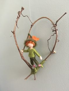 needle felted  boy, hanfing on grapevine, autumn woodland sprite, window hanging, home decor by (null) on Etsy (null)
