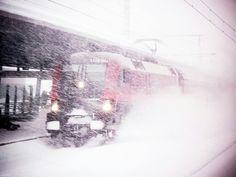 Blizzard St Anton Railway Station Austria, by ataghit