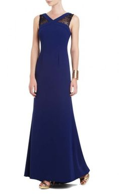 """$188.00 Scalloped lace brings an elegantly feminine element to this sleek and slim evening gown. V-neck. Sleeveless. Classic fit. Lace insets at shoulders and back. V-shaped back. Concealed center back zipper with hook-and-eye closure. Measures approximately 56.75"""" From shoulder to hem. Crepe: polyester. Lace: nylon. Mesh: polyester. Lining: polyester. Imported. Dry clean."""