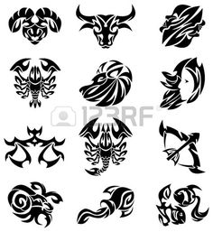 Tribal Signs Of The Zodiac Royalty Free Cliparts, Vectors, And Stock Illustration. Image 8910863.