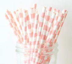 Pink Paper Straws, Blush Pink Stripe Straws, Mason Jar Straws, Party Straws, Baby Shower, Bridal Shower, Rustic Wedding, DIY Wedding Decor