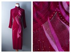 Vintage 1960s Velvet Asian Dress Kimono Robe Tunic Hand Painted Fuchsia Dark Purple Red Japanese Chinese Gown Cheongsam Sz 2 4 Small Petite