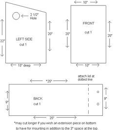 squirrel nesting box complete instructions & dimensions.