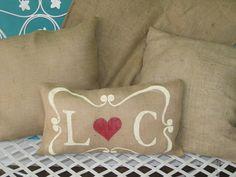 Burlap Pillow Romantic by Burlapulous on Etsy, $28.00