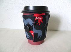 Fabric Coffee Cozy Dog Rescue Design by ThreadBasket on Etsy