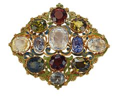 Brooch of gold, sapphires, zircons, and enamel, 1890-1910, by G. Paulding Farnham for Tiffany & Co.