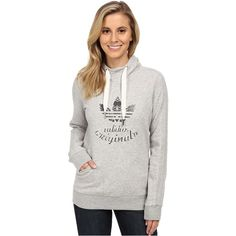 adidas Originals LA Slim Hoodie Women's Sweatshirt ($56) ❤ liked on Polyvore featuring tops, hoodies, grey, white pullover hoodie, white hooded sweatshirt, hoodie pullover, cotton hoodie and graphic hoodies