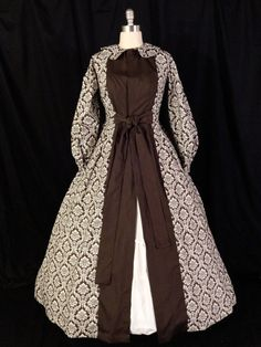 Civil War Brown Damask Wrapper/Gown/Dress by AimeeVictorianArmoir, $125.00