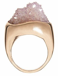 Raw amethyst and rose gold ring.  I like the sculpted aspect of the ring's body.