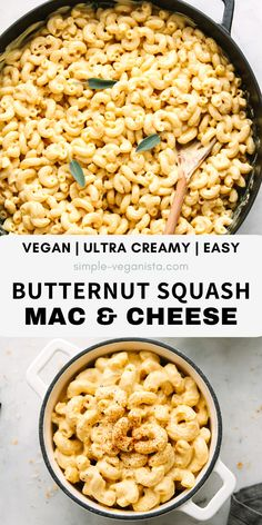 Dec 2019 - Ultra creamy and delicious this dairy-free Butternut Squash Mac & Cheese recipe with smoky flavor is the BEST! With only 10 ingredients and ready in about 30 minutes, it's quick and easy comfort food! Clean Eating Vegetarian, Clean Eating Recipes, Vegetarian Recipes, Cooking Recipes, Healthy Recipes, Vegetarian Diets, Easy Recipes, Butternut Squash Mac And Cheese Recipe, Vegan Comfort Food