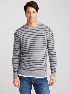 Embossed-stripe sweater | Le 31 | Shop Men's Crew Neck Sweaters Online | Simons