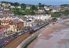 Ex-Great Western Railway 4-4-0 3440 'City of Truro' passes along the sea wall through Dawlish on the Great Western mainline with the 'Ocean Mails' enthusiasts' special train from Bristol to Kingswear on Saturday 8th May 2004.