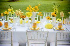 yellow flowers + white milk glass