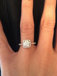 Real Ritani Engagement Rings - Cushion Cut Halo Diamond