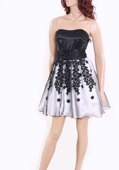 Black and White Lace organza cocktail / by UpToDateFashion on Etsy, $69.99