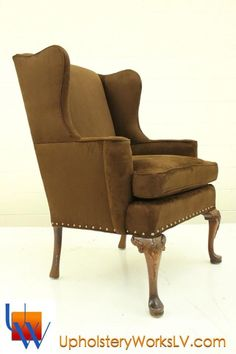 Wingback chair with nails by Upholstery Works. Las Vegas, NV http://www.UpholsteryWorksLV.com