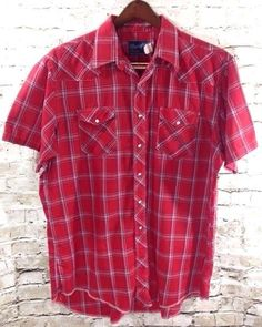 Vtg Wrangler Western Red Pearl Snap Shirt Sz 18 X-Long Tails 2XL Plaid USA Flaws #Wrangler #Western #Vintage #PearlSnap