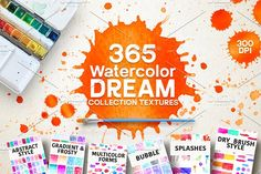 365 Watercolor Dream Textures by Daria Bilberry on @creativemarket