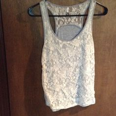 """Adorable heather gray and cream lace tank top Really cute yet super comfy and stretchy tank top, I cannot find the size, will fit up to 31"""" bust, length is 22.5, will best fit xs and some small Boutique Tops Tank Tops"""