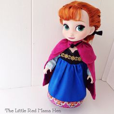 Frozen Inspired Anna Dress and Cape ~ Shown on Disney Animator Doll