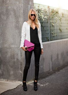 black white and a pop of pink
