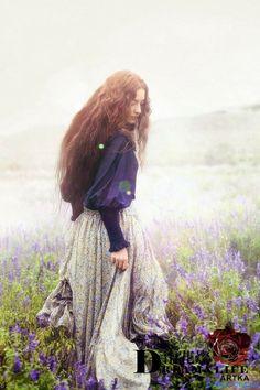 woman girl long hair skirts field flowers purple pretty mist fog