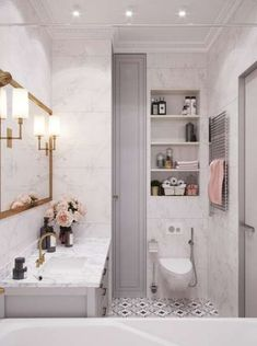 White marble bathroom, grey cabinets, open shelving, black and white painted tile, gold mirror. Home design decor inspiration ideas. Home Design Decor, Bathroom Interior Design, House Design, Home Decoration, Design Ideas, Bathroom Trends, Modern Bathroom, Small Bathroom, Bathroom Grey