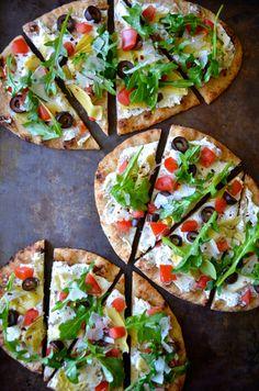 Artichoke Flatbreads from @Sunil Mehra a Taste   Kelly Senyei! Get the full recipe on our Delish Dish blog: http://www.bhg.com/blogs/delish-dish/2014/04/08/artichoke-flatbread-recipe/