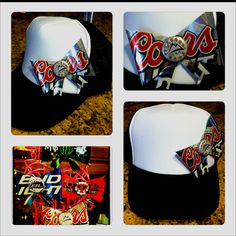 Coors Light Trucker Hat $20. This hat can be customized with your favorite product/brand!! Additional hat colors available.  Text 760 995 5262  Stagecoach and River Season are QUICKLY approaching! <3 www.facebook.com/prettyinbronze