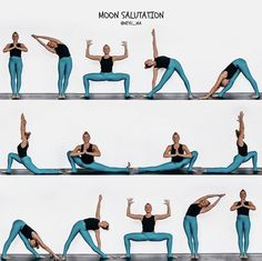yoga tips .Moon Salutation or Chandra Namaskar - . Yoga Routine, Yoga Moon Salutation, Ayurveda, Yoga Quotidien, Yoga Nantes, Fitness Del Yoga, Morning Yoga Sequences, Yoga Exercises, Yoga Workouts