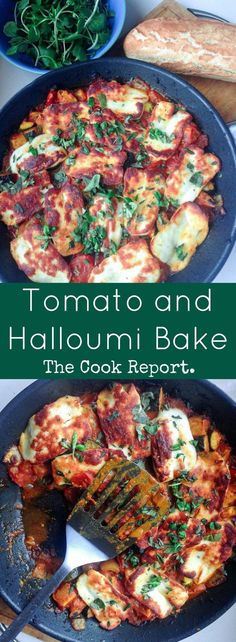 This halloumi bake perfectly combines the healthy freshness of vegetables with the chewy, salty halloumi for a delicious vegetarian dinner. vegetarian dinner Tomato and Halloumi Bake Baked Halloumi, Halloumi Chips, Halloumi Pasta, Vegan Halloumi, Comida India, Weight Watcher Desserts, Vegetarian Dinners, Vegetarian Food, Healthy Meals For Dinner