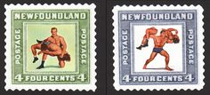 "New treatments for lower back pain took the spotlight in Newfoundland's 4-cent pair of Orthopedic and Sports Medicine stamps, featuring Hans Schmidt and Antonino ""Argentina"" Rocca in art by Vaughan Bass."