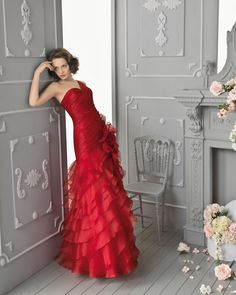 Aire Barcelona Cocktail Dress 2013-In Red Color, Natural Pleated Bodice with One Shoulder, Ruffled Organza Skirt