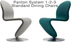 Stainless steel base, bold colorful seat, curved dining chairs from Verner Panton.